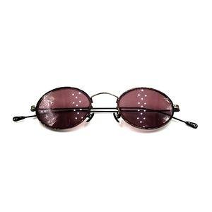 Vintage Black Tortoise Metal Oval Sunglasses